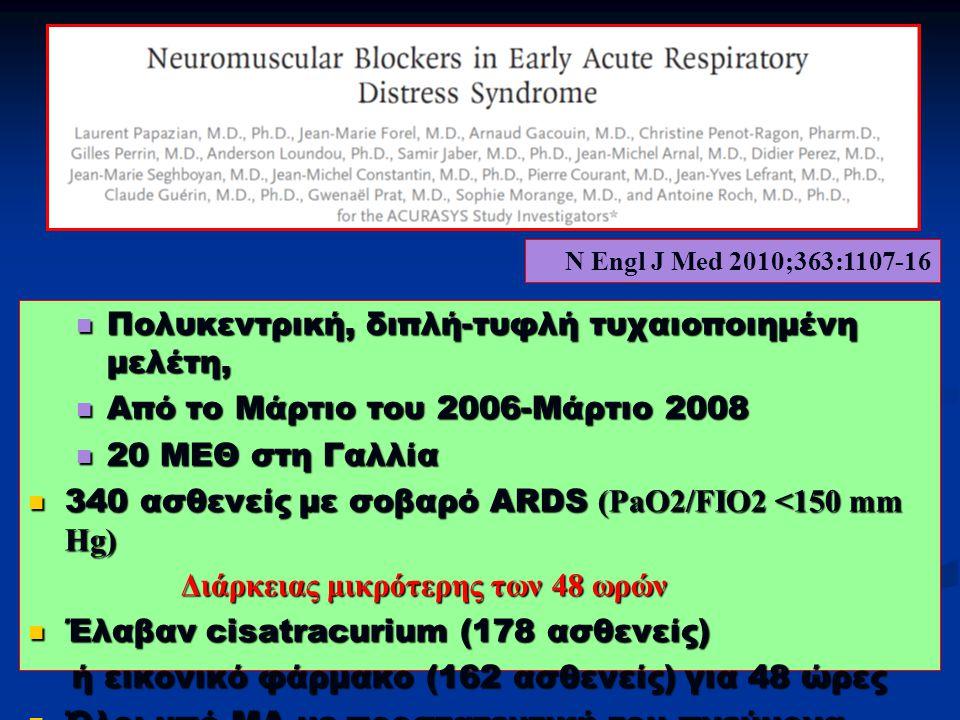 Πολυκεντρική, διπλή-τυφλή τυχαιοποιημένη μελέτη, Πολυκεντρική, διπλή-τυφλή τυχαιοποιημένη μελέτη, Από το Μάρτιο του 2006-Μάρτιο 2008 Από το Μάρτιο του 2006-Μάρτιο 2008 20 ΜΕΘ στη Γαλλία 20 ΜΕΘ στη Γαλλία 340 ασθενείς με σοβαρό ARDS (PaO2/FIO2 <150 mm Hg) 340 ασθενείς με σοβαρό ARDS (PaO2/FIO2 <150 mm Hg) Διάρκειας μικρότερης των 48 ωρών Διάρκειας μικρότερης των 48 ωρών Έλαβαν cisatracurium (178 ασθενείς) Έλαβαν cisatracurium (178 ασθενείς) ή εικονικό φάρμακο (162 ασθενείς) για 48 ώρες ή εικονικό φάρμακο (162 ασθενείς) για 48 ώρες Όλοι υπό ΜΑ με προστατευτική του πνεύμονα στρατηγική Όλοι υπό ΜΑ με προστατευτική του πνεύμονα στρατηγική N Engl J Med 2010;363:1107-16