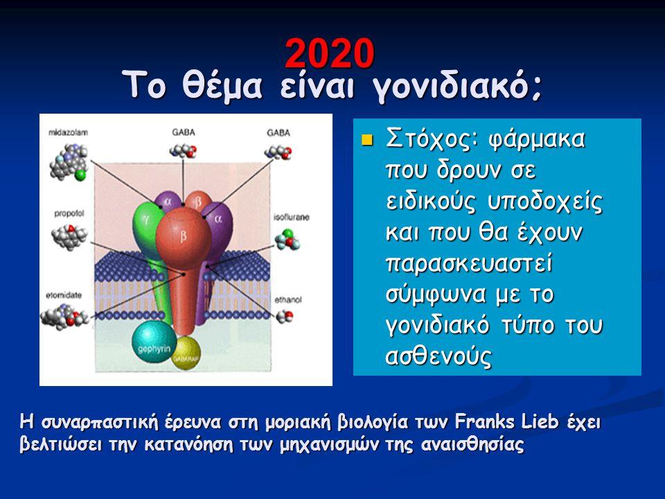 Το θέμα είναι γονιδιακό; Στόχος: φάρμακα που δρουν σε ειδικούς υποδοχείς και που θα έχουν παρασκευαστεί σύμφωνα με το γονιδιακό τύπο του ασθενούς Η συναρπαστική έρευνα στη μοριακή βιολογία των Franks Lieb έχει βελτιώσει την κατανόηση των μηχανισμών της αναισθησίας 2020 2020
