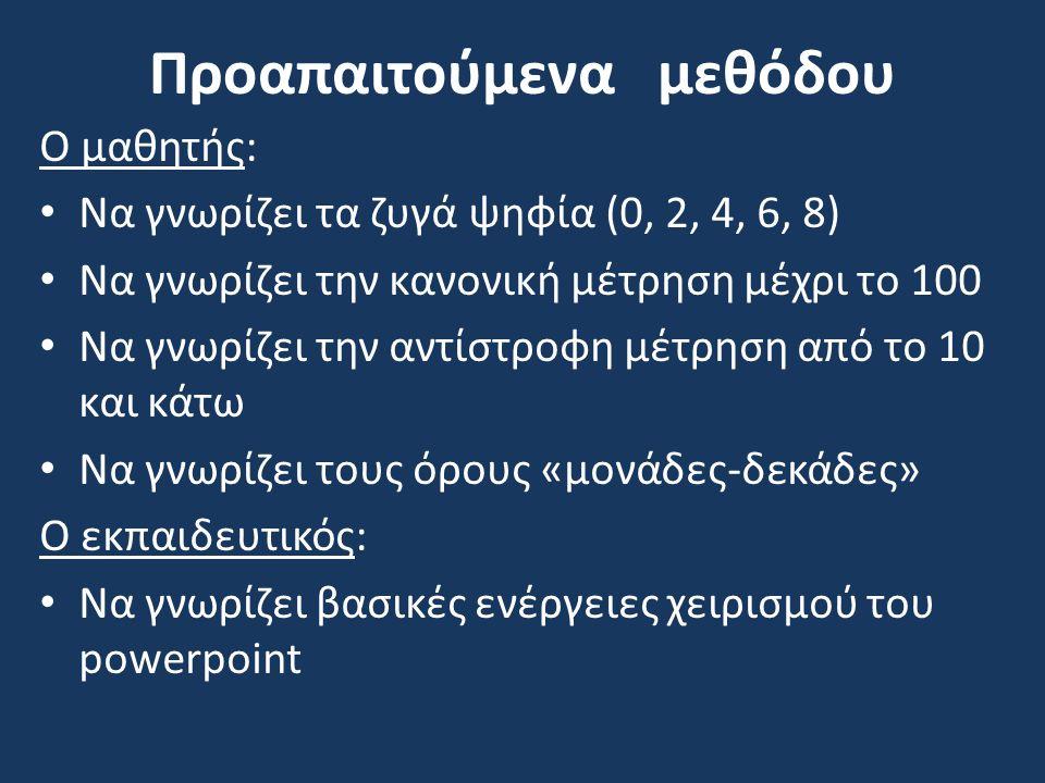 Στόχος:  από την πράξη (δημιουργία πινάκων στον πίνακα ή στον Η/Υ, παιχνίδι στο προαύλειο),  στην εικόνα (αντί για τετραγωνάκια βάζω απλές τελίτσες)  και τέλος στο σύμβολο (κατευθείαν αριθμοί)