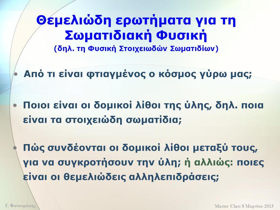 Master Class 8 Μαρτίου 2013 Γ. Φανουράκης Θεμελιώδη ερωτήματα για τη Σωματιδιακή Φυσική (δηλ. τη Φυσική Στοιχειωδών Σωματιδίων) Από τι είναι φτιαγμένο
