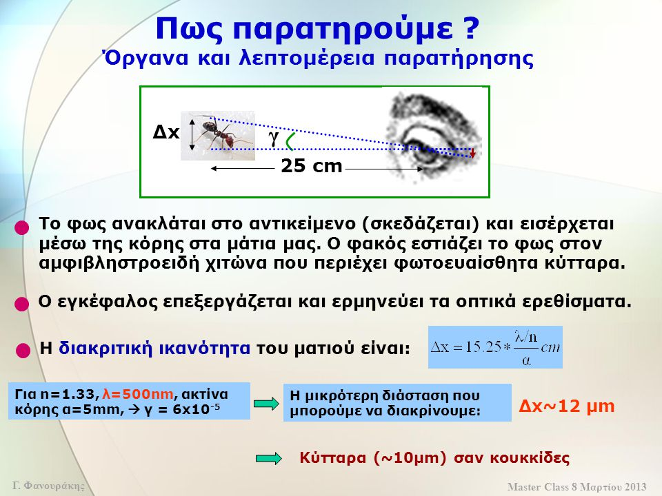 Master Class 8 Μαρτίου 2013 Γ. Φανουράκης Πως παρατηρούμε ? Όργανα και λεπτομέρεια παρατήρησης Ο εγκέφαλος επεξεργάζεται και ερμηνεύει τα οπτικά ερεθί