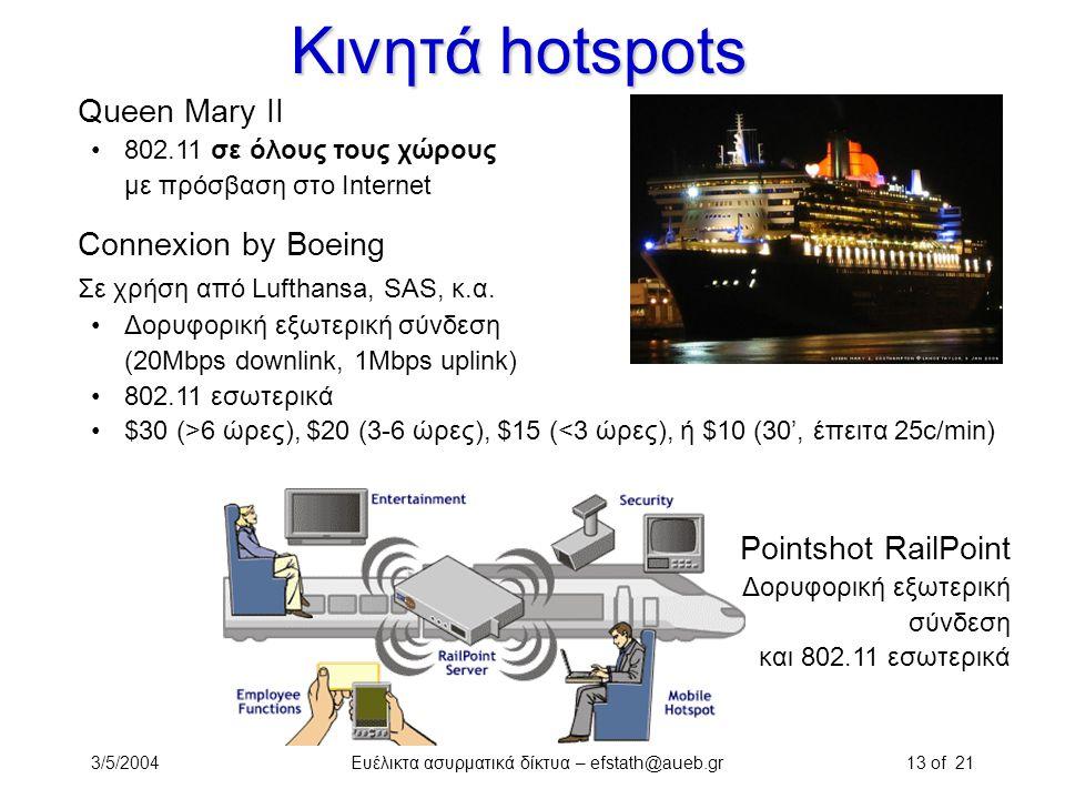 3/5/2004Ευέλικτα ασυρματικά δίκτυα – efstath@aueb.gr13 of 21 Κινητά hotspots Queen Mary II 802.11 σε όλους τους χώρους με πρόσβαση στο Internet Connex
