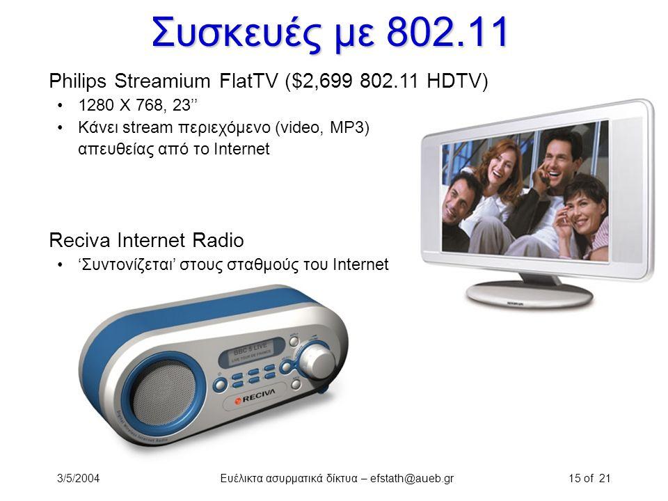 3/5/2004Ευέλικτα ασυρματικά δίκτυα – efstath@aueb.gr15 of 21 Συσκευές με 802.11 Philips Streamium FlatTV ($2,699 802.11 HDTV) 1280 X 768, 23'' Κάνει s