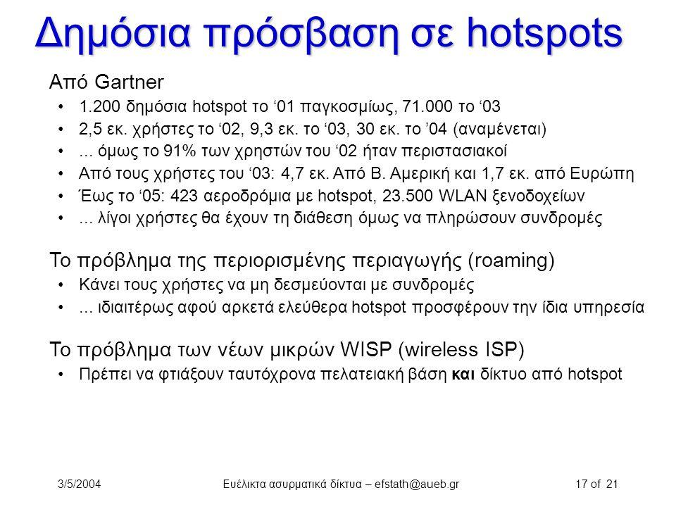 3/5/2004Ευέλικτα ασυρματικά δίκτυα – efstath@aueb.gr17 of 21 Δημόσια πρόσβαση σε hotspots Από Gartner 1.200 δημόσια hotspot το '01 παγκοσμίως, 71.000