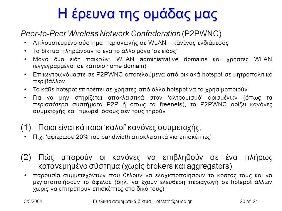 3/5/2004Ευέλικτα ασυρματικά δίκτυα – efstath@aueb.gr20 of 21 Η έρευνα της ομάδας μας Peer-to-Peer Wireless Network Confederation (P2PWNC) Απλουστευμέν