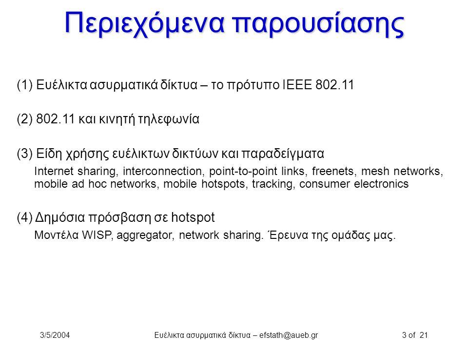 3/5/2004Ευέλικτα ασυρματικά δίκτυα – efstath@aueb.gr3 of 21 Περιεχόμενα παρουσίασης (1) Ευέλικτα ασυρματικά δίκτυα – το πρότυπο ΙΕΕΕ 802.11 (2) 802.11