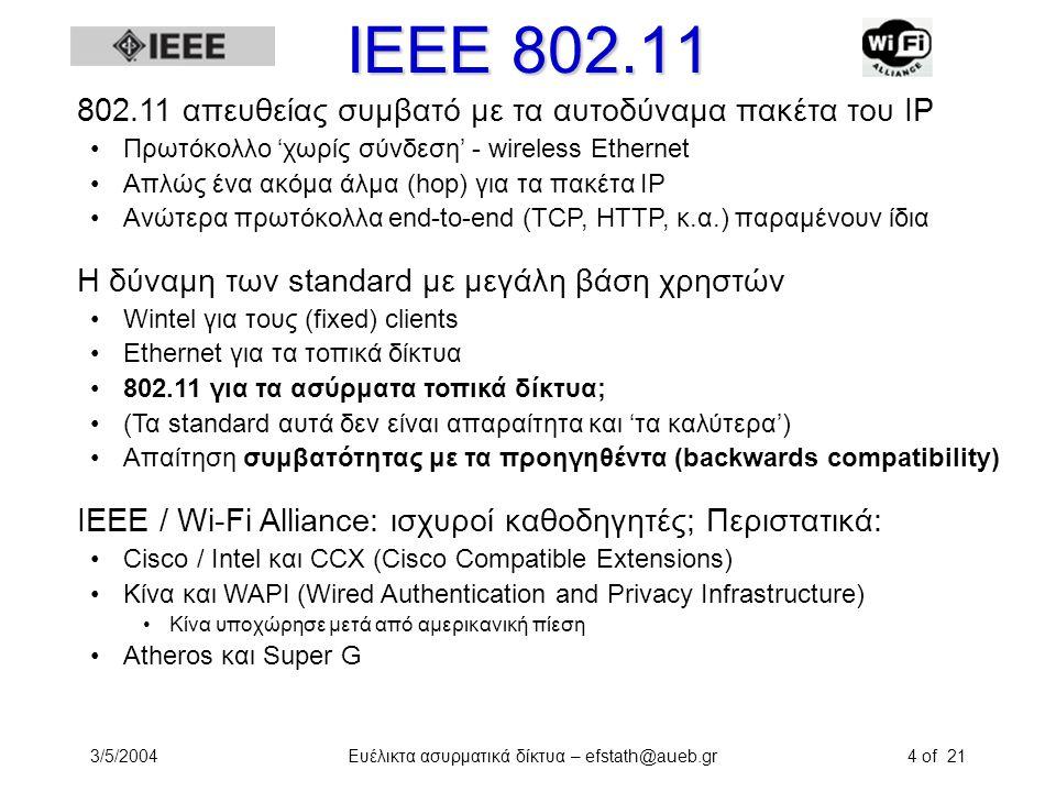 3/5/2004Ευέλικτα ασυρματικά δίκτυα – efstath@aueb.gr4 of 21 ΙΕΕΕ 802.11 802.11 απευθείας συμβατό με τα αυτοδύναμα πακέτα του IP Πρωτόκολλο 'χωρίς σύνδ
