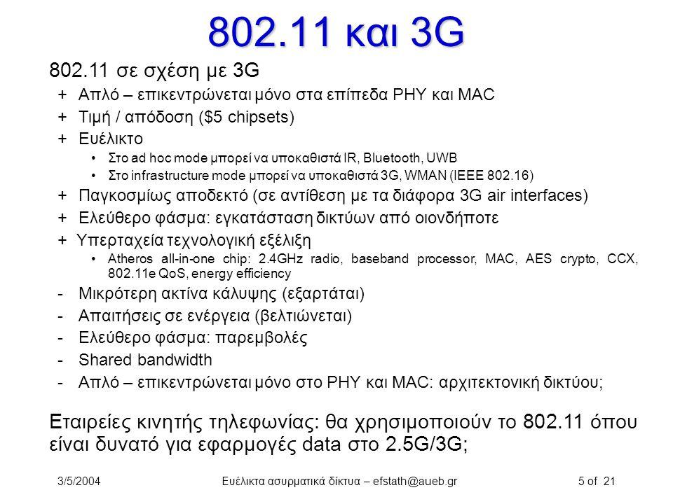 3/5/2004Ευέλικτα ασυρματικά δίκτυα – efstath@aueb.gr5 of 21 802.11 και 3G 802.11 σε σχέση με 3G +Απλό – επικεντρώνεται μόνο στα επίπεδα PHY και MAC +Τ