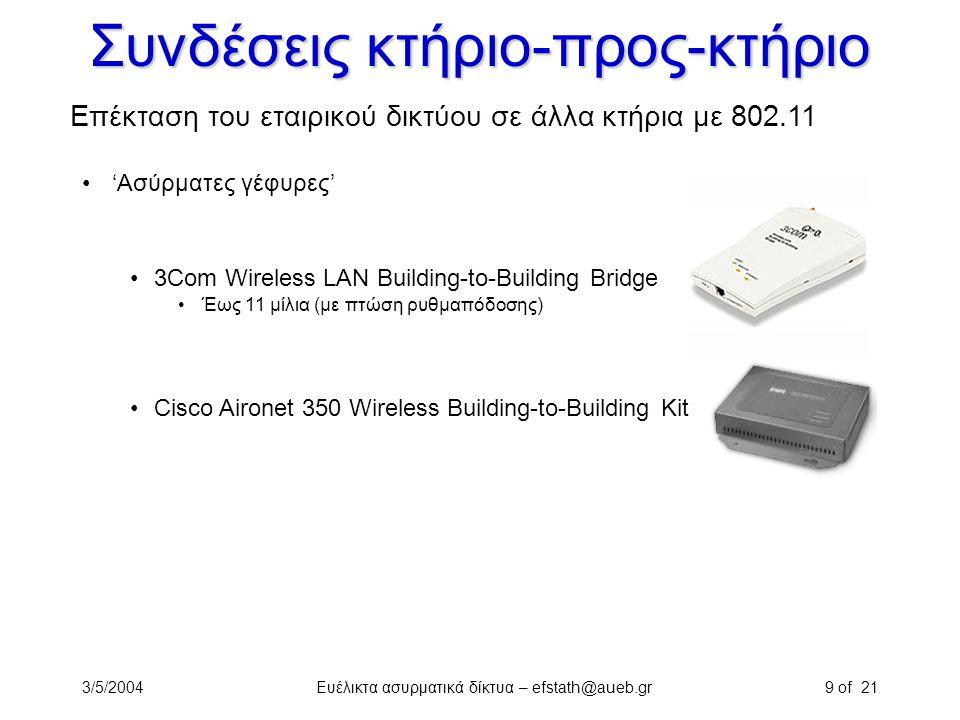 3/5/2004Ευέλικτα ασυρματικά δίκτυα – efstath@aueb.gr9 of 21 Συνδέσεις κτήριο-προς-κτήριο Επέκταση του εταιρικού δικτύου σε άλλα κτήρια με 802.11 'Ασύρ