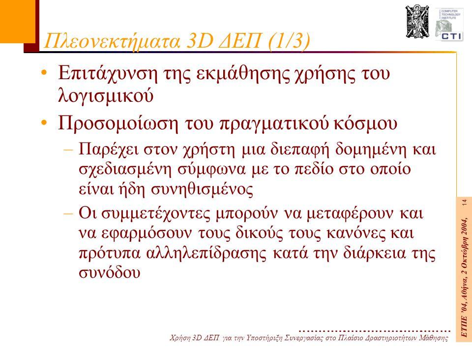 Χρήση 3D ΔΕΠ για την Υποστήριξη Συνεργασίας στο Πλαίσιο Δραστηριοτήτων Μάθησης ΕΤΠΕ '04, Αθήνα, 2 Οκτώβρη 2004, 14 Πλεονεκτήματα 3D ΔΕΠ (1/3) Επιτάχυνση της εκμάθησης χρήσης του λογισμικού Προσομοίωση του πραγματικού κόσμου –Παρέχει στον χρήστη μια διεπαφή δομημένη και σχεδιασμένη σύμφωνα με το πεδίο στο οποίο είναι ήδη συνηθισμένος –Οι συμμετέχοντες μπορούν να μεταφέρουν και να εφαρμόσουν τους δικούς τους κανόνες και πρότυπα αλληλεπίδρασης κατά την διάρκεια της συνόδου