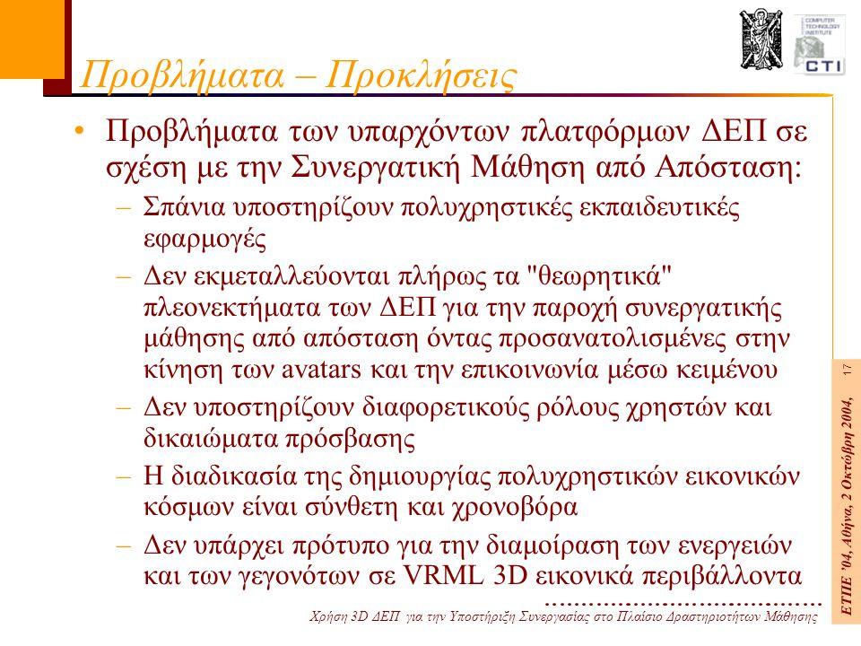 Χρήση 3D ΔΕΠ για την Υποστήριξη Συνεργασίας στο Πλαίσιο Δραστηριοτήτων Μάθησης ΕΤΠΕ '04, Αθήνα, 2 Οκτώβρη 2004, 17 Προβλήματα – Προκλήσεις Προβλήματα των υπαρχόντων πλατφόρμων ΔΕΠ σε σχέση με την Συνεργατική Μάθηση από Απόσταση: –Σπάνια υποστηρίζουν πολυχρηστικές εκπαιδευτικές εφαρμογές –Δεν εκμεταλλεύονται πλήρως τα θεωρητικά πλεονεκτήματα των ΔΕΠ για την παροχή συνεργατικής μάθησης από απόσταση όντας προσανατολισμένες στην κίνηση των avatars και την επικοινωνία μέσω κειμένου –Δεν υποστηρίζουν διαφορετικούς ρόλους χρηστών και δικαιώματα πρόσβασης –Η διαδικασία της δημιουργίας πολυχρηστικών εικονικών κόσμων είναι σύνθετη και χρονοβόρα –Δεν υπάρχει πρότυπο για την διαμοίραση των ενεργειών και των γεγονότων σε VRML 3D εικονικά περιβάλλοντα