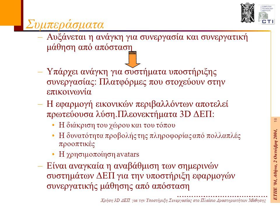 Χρήση 3D ΔΕΠ για την Υποστήριξη Συνεργασίας στο Πλαίσιο Δραστηριοτήτων Μάθησης ΕΤΠΕ '04, Αθήνα, 2 Οκτώβρη 2004, 18 Συμπεράσματα –Αυξάνεται η ανάγκη για συνεργασία και συνεργατική μάθηση από απόσταση –Υπάρχει ανάγκη για συστήματα υποστήριξης συνεργασίας: Πλατφόρμες που στοχεύουν στην επικοινωνία –Η εφαρμογή εικονικών περιβαλλόντων αποτελεί πρωτεύουσα λύση.Πλεονεκτήματα 3D ΔΕΠ: Η διάκριση του χώρου και του τόπου Η δυνατότητα προβολής της πληροφορίας από πολλαπλές προοπτικές Η χρησιμοποίηση avatars –Είναι αναγκαία η αναβάθμιση των σημερινών συστημάτων ΔΕΠ για την υποστήριξη εφαρμογών συνεργατικής μάθησης από απόσταση