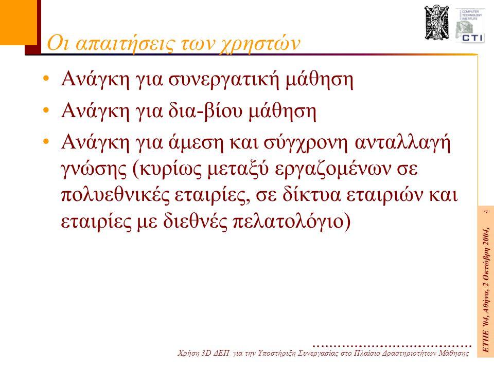 Χρήση 3D ΔΕΠ για την Υποστήριξη Συνεργασίας στο Πλαίσιο Δραστηριοτήτων Μάθησης ΕΤΠΕ '04, Αθήνα, 2 Οκτώβρη 2004, 4 Οι απαιτήσεις των χρηστών Ανάγκη για συνεργατική μάθηση Ανάγκη για δια-βίου μάθηση Ανάγκη για άμεση και σύγχρονη ανταλλαγή γνώσης (κυρίως μεταξύ εργαζομένων σε πολυεθνικές εταιρίες, σε δίκτυα εταιριών και εταιρίες με διεθνές πελατολόγιο)