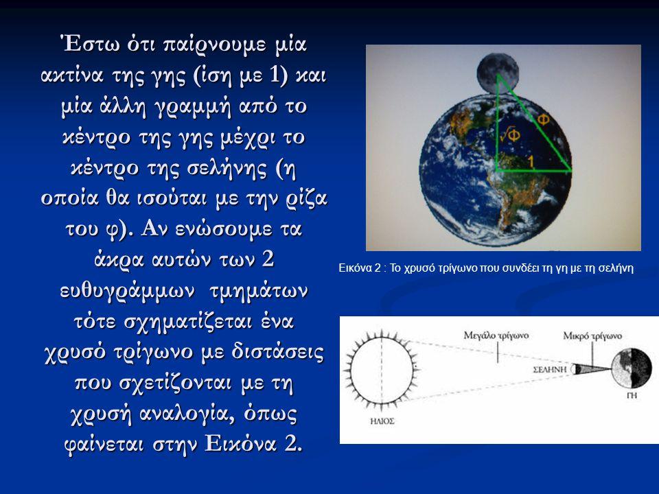 Έστω ότι παίρνουμε μία ακτίνα της γης (ίση με 1) και μία άλλη γραμμή από το κέντρο της γης μέχρι το κέντρο της σελήνης (η οποία θα ισούται με την ρίζα του φ).