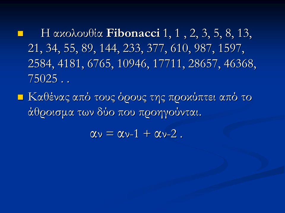 Η ακολουθία Fibonacci 1, 1, 2, 3, 5, 8, 13, 21, 34, 55, 89, 144, 233, 377, 610, 987, 1597, 2584, 4181, 6765, 10946, 17711, 28657, 46368, 75025.. Η ακο