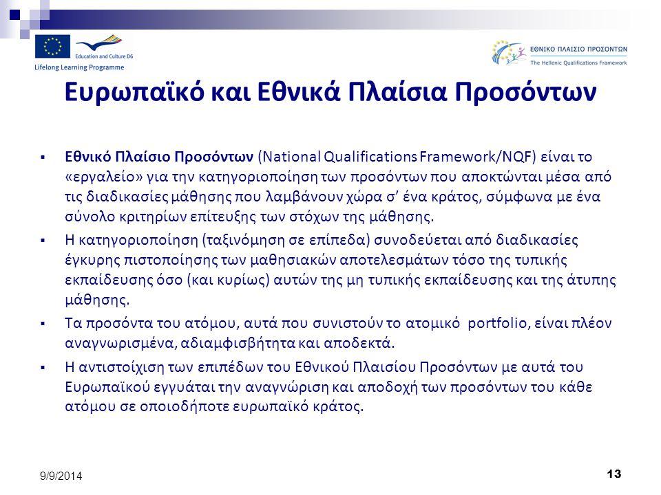 13 9/9/2014 Ευρωπαϊκό και Εθνικά Πλαίσια Προσόντων  Εθνικό Πλαίσιο Προσόντων (National Qualifications Framework/NQF) είναι το «εργαλείο» για την κατη