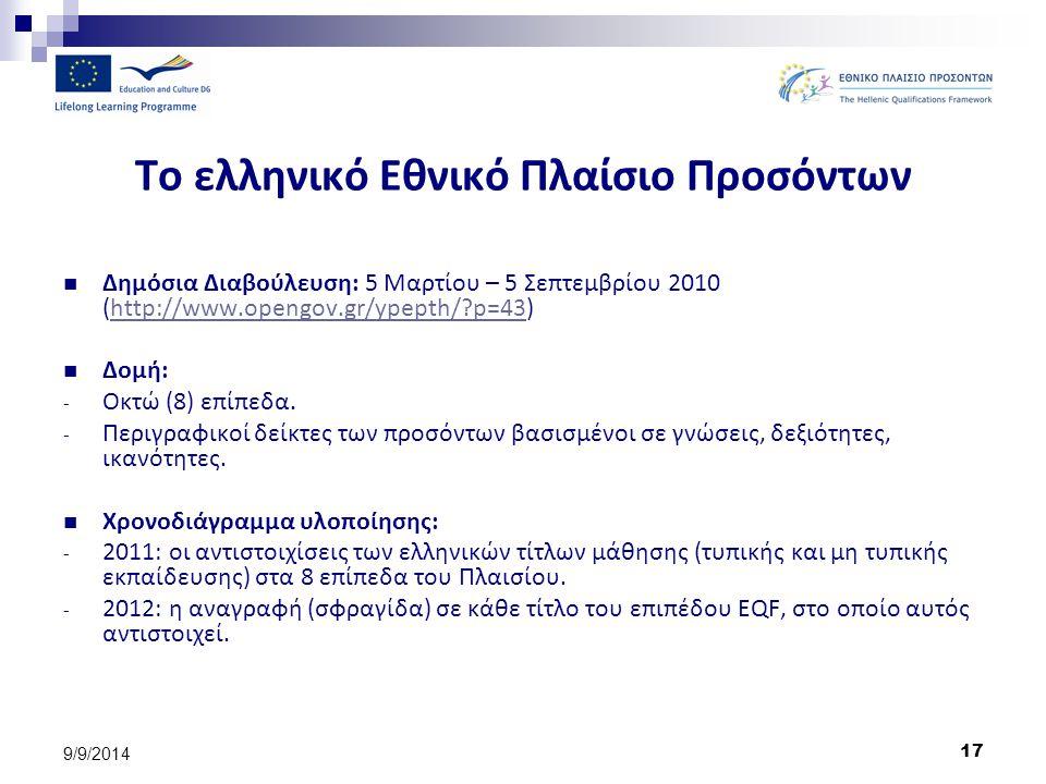 17 9/9/2014 Το ελληνικό Εθνικό Πλαίσιο Προσόντων Δημόσια Διαβούλευση: 5 Μαρτίου – 5 Σεπτεμβρίου 2010 (http://www.opengov.gr/ypepth/?p=43)http://www.op