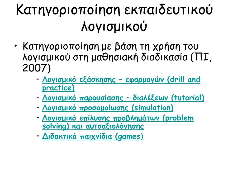 Κατηγοριοποίηση εκπαιδευτικού λογισμικού Κατηγοριοποίηση με βάση τη χρήση του λογισμικού στη μαθησιακή διαδικασία (ΠΙ, 2007) Λογισμικό εξάσκησης – εφαρμογών (drill and practice)Λογισμικό εξάσκησης – εφαρμογών (drill and practice) Λογισμικό παρουσίασης – διαλέξεων (tutorial)Λογισμικό παρουσίασης – διαλέξεων (tutorial) Λογισμικό προσομοίωσης (simulation)Λογισμικό προσομοίωσης (simulation) Λογισμικό επίλυσης προβλημάτων (problem solving) και αυτοαξιολόγησηςΛογισμικό επίλυσης προβλημάτων (problem solving) και αυτοαξιολόγησης Διδακτικά παιχνίδια (games)Διδακτικά παιχνίδια (games)
