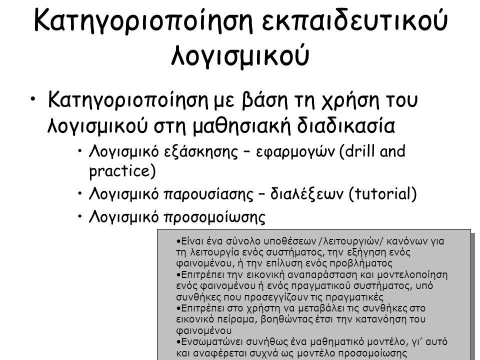 Κατηγοριοποίηση εκπαιδευτικού λογισμικού Κατηγοριοποίηση με βάση τη χρήση του λογισμικού στη μαθησιακή διαδικασία Λογισμικό εξάσκησης – εφαρμογών (drill and practice) Λογισμικό παρουσίασης – διαλέξεων (tutorial) Λογισμικό προσομοίωσης Είναι ένα σύνολο υποθέσεων /λειτουργιών/ κανόνων για τη λειτουργία ενός συστήματος, την εξήγηση ενός φαινομένου, ή την επίλυση ενός προβλήματοςΕίναι ένα σύνολο υποθέσεων /λειτουργιών/ κανόνων για τη λειτουργία ενός συστήματος, την εξήγηση ενός φαινομένου, ή την επίλυση ενός προβλήματος Επιτρέπει την εικονική αναπαράσταση και μοντελοποίηση ενός φαινομένου ή ενός πραγματικού συστήματος, υπό συνθήκες που προσεγγίζουν τις πραγματικέςΕπιτρέπει την εικονική αναπαράσταση και μοντελοποίηση ενός φαινομένου ή ενός πραγματικού συστήματος, υπό συνθήκες που προσεγγίζουν τις πραγματικές Επιτρέπει στο χρήστη να μεταβάλει τις συνθήκες στο εικονικό πείραμα, βοηθώντας έτσι την κατανόηση του φαινομένουΕπιτρέπει στο χρήστη να μεταβάλει τις συνθήκες στο εικονικό πείραμα, βοηθώντας έτσι την κατανόηση του φαινομένου Ενσωματώνει συνήθως ένα μαθηματικό μοντέλο, γι' αυτό και αναφέρεται συχνά ως μοντέλο προσομοίωσηςΕνσωματώνει συνήθως ένα μαθηματικό μοντέλο, γι' αυτό και αναφέρεται συχνά ως μοντέλο προσομοίωσης Είναι ένα σύνολο υποθέσεων /λειτουργιών/ κανόνων για τη λειτουργία ενός συστήματος, την εξήγηση ενός φαινομένου, ή την επίλυση ενός προβλήματοςΕίναι ένα σύνολο υποθέσεων /λειτουργιών/ κανόνων για τη λειτουργία ενός συστήματος, την εξήγηση ενός φαινομένου, ή την επίλυση ενός προβλήματος Επιτρέπει την εικονική αναπαράσταση και μοντελοποίηση ενός φαινομένου ή ενός πραγματικού συστήματος, υπό συνθήκες που προσεγγίζουν τις πραγματικέςΕπιτρέπει την εικονική αναπαράσταση και μοντελοποίηση ενός φαινομένου ή ενός πραγματικού συστήματος, υπό συνθήκες που προσεγγίζουν τις πραγματικές Επιτρέπει στο χρήστη να μεταβάλει τις συνθήκες στο εικονικό πείραμα, βοηθώντας έτσι την κατανόηση του φαινομένουΕπιτρέπει στο χρήστη να μεταβάλει τις συνθήκες στο εικονικό πείραμα, βοηθ