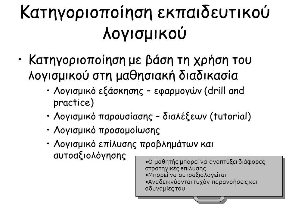 Κατηγοριοποίηση εκπαιδευτικού λογισμικού Κατηγοριοποίηση με βάση τη χρήση του λογισμικού στη μαθησιακή διαδικασία Λογισμικό εξάσκησης – εφαρμογών (drill and practice) Λογισμικό παρουσίασης – διαλέξεων (tutorial) Λογισμικό προσομοίωσης Λογισμικό επίλυσης προβλημάτων και αυτοαξιολόγησης Ο μαθητής μπορεί να αναπτύξει διάφορες στρατηγικές επίλυσηςΟ μαθητής μπορεί να αναπτύξει διάφορες στρατηγικές επίλυσης Μπορεί να αυτοαξιολογείται Αναδεικνύονται τυχόν παρανοήσεις και αδυναμίες τουΑναδεικνύονται τυχόν παρανοήσεις και αδυναμίες του Ο μαθητής μπορεί να αναπτύξει διάφορες στρατηγικές επίλυσηςΟ μαθητής μπορεί να αναπτύξει διάφορες στρατηγικές επίλυσης Μπορεί να αυτοαξιολογείται Αναδεικνύονται τυχόν παρανοήσεις και αδυναμίες τουΑναδεικνύονται τυχόν παρανοήσεις και αδυναμίες του