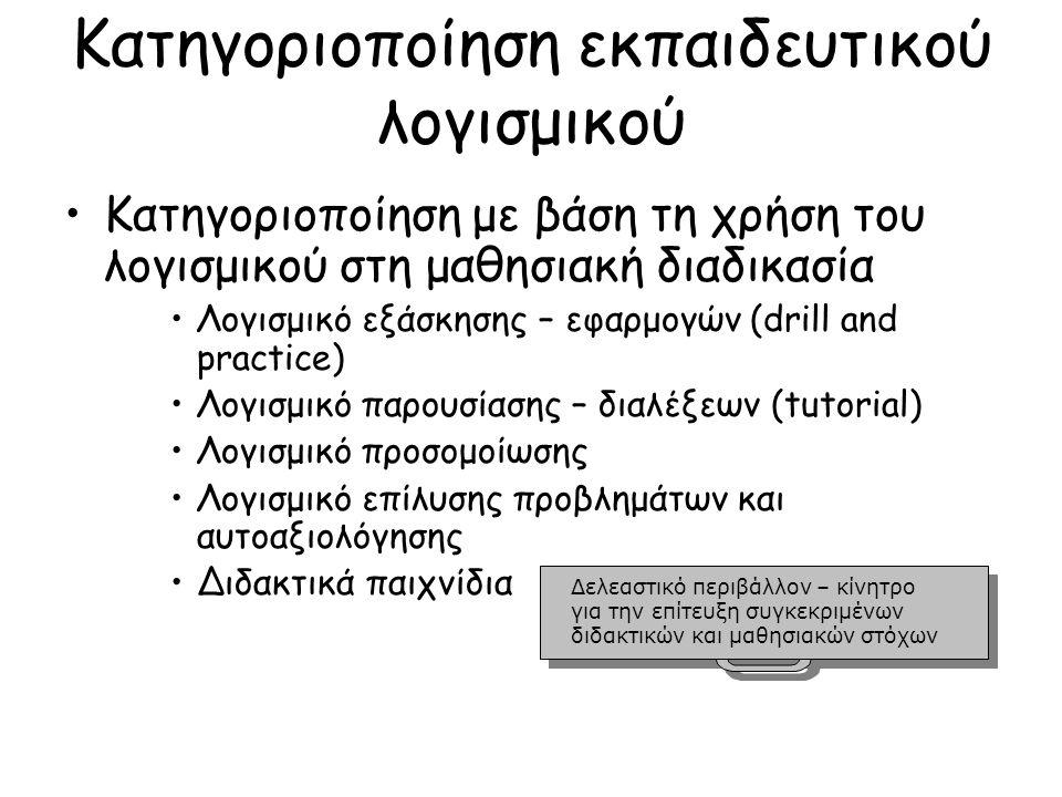 Κατηγοριοποίηση εκπαιδευτικού λογισμικού Κατηγοριοποίηση με βάση τη χρήση του λογισμικού στη μαθησιακή διαδικασία Λογισμικό εξάσκησης – εφαρμογών (drill and practice) Λογισμικό παρουσίασης – διαλέξεων (tutorial) Λογισμικό προσομοίωσης Λογισμικό επίλυσης προβλημάτων και αυτοαξιολόγησης Διδακτικά παιχνίδια Δελεαστικό περιβάλλον – κίνητρο για την επίτευξη συγκεκριμένων διδακτικών και μαθησιακών στόχων Δελεαστικό περιβάλλον – κίνητρο για την επίτευξη συγκεκριμένων διδακτικών και μαθησιακών στόχων