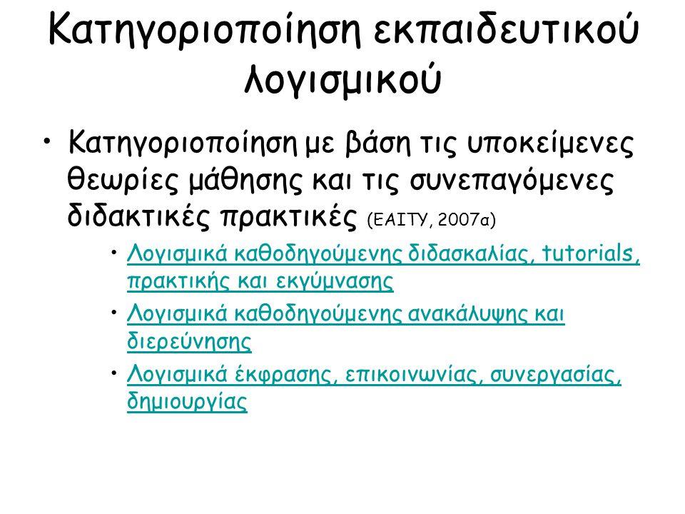 Κατηγοριοποίηση εκπαιδευτικού λογισμικού Κατηγοριοποίηση με βάση τις υποκείμενες θεωρίες μάθησης και τις συνεπαγόμενες διδακτικές πρακτικές (ΕΑΙΤΥ, 2007α) Λογισμικά καθοδηγούμενης διδασκαλίας, tutorials, πρακτικής και εκγύμνασηςΛογισμικά καθοδηγούμενης διδασκαλίας, tutorials, πρακτικής και εκγύμνασης Λογισμικά καθοδηγούμενης ανακάλυψης και διερεύνησηςΛογισμικά καθοδηγούμενης ανακάλυψης και διερεύνησης Λογισμικά έκφρασης, επικοινωνίας, συνεργασίας, δημιουργίαςΛογισμικά έκφρασης, επικοινωνίας, συνεργασίας, δημιουργίας