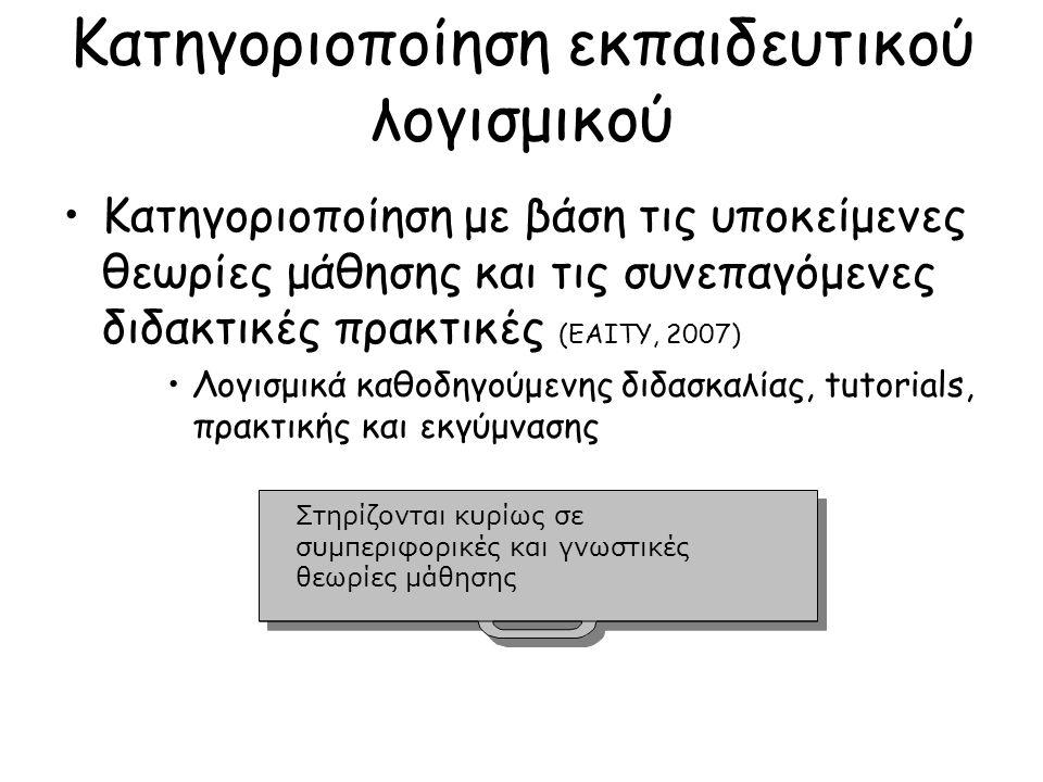 Κατηγοριοποίηση εκπαιδευτικού λογισμικού Κατηγοριοποίηση με βάση τις υποκείμενες θεωρίες μάθησης και τις συνεπαγόμενες διδακτικές πρακτικές (ΕΑΙΤΥ, 2007) Λογισμικά καθοδηγούμενης διδασκαλίας, tutorials, πρακτικής και εκγύμνασης Λογισμικά καθοδηγούμενης ανακάλυψης και διερεύνησης Στηρίζονται κυρίως σε γνωστικές και επικοδομιστικές θεωρίες μάθησης Στηρίζονται κυρίως σε γνωστικές και επικοδομιστικές θεωρίες μάθησης