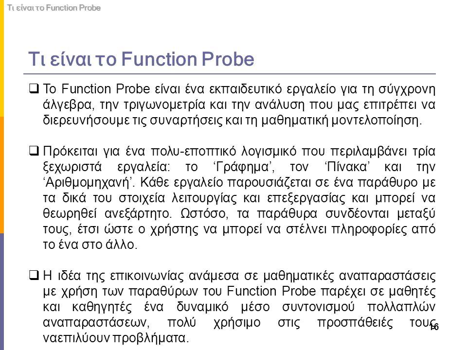 Τι είναι το Function Probe 16 Τι είναι το Function Probe  Το Function Probe είναι ένα εκπαιδευτικό εργαλείο για τη σύγχρονη άλγεβρα, την τριγωνομετρί