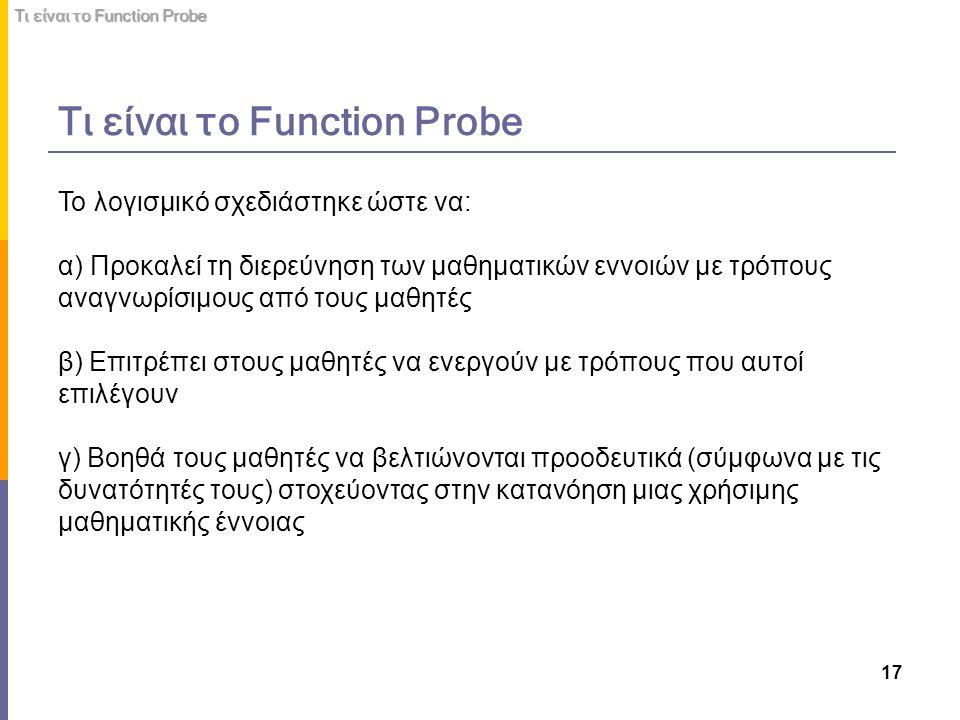 17 Το λογισμικό σχεδιάστηκε ώστε να: α) Προκαλεί τη διερεύνηση των μαθηματικών εννοιών με τρόπους αναγνωρίσιμους από τους μαθητές β) Επιτρέπει στους μ