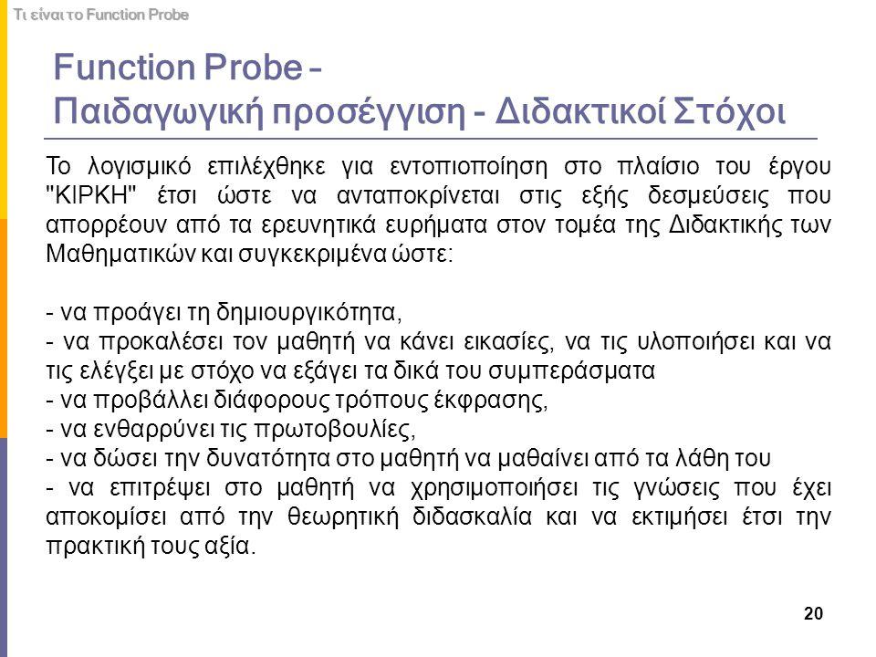 Function Probe – Παιδαγωγική προσέγγιση - Διδακτικοί Στόχοι 20 Το λογισμικό επιλέχθηκε για εντοπιοποίηση στο πλαίσιο του έργου
