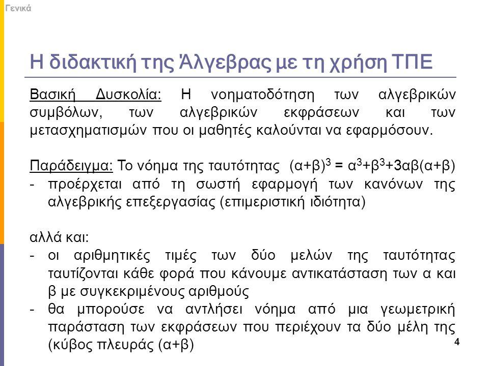 Η διδακτική της Άλγεβρας με τη χρήση ΤΠΕ 4Γενικά Βασική Δυσκολία: Η νοηματοδότηση των αλγεβρικών συμβόλων, των αλγεβρικών εκφράσεων και των μετασχηματ