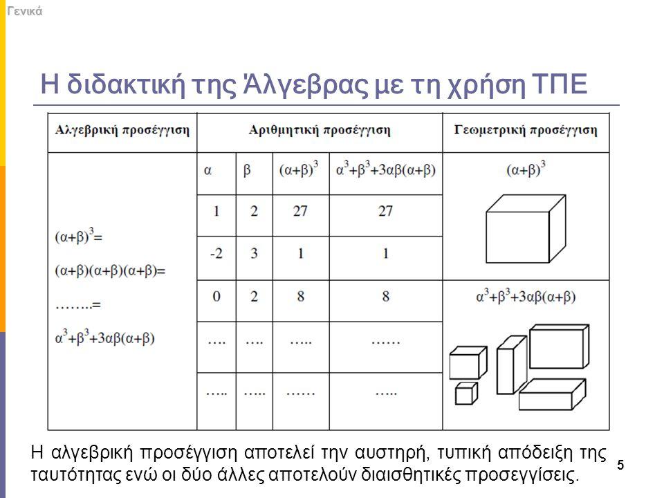 Η διδακτική της Άλγεβρας με τη χρήση ΤΠΕ 5Γενικά Η αλγεβρική προσέγγιση αποτελεί την αυστηρή, τυπική απόδειξη της ταυτότητας ενώ οι δύο άλλες αποτελού