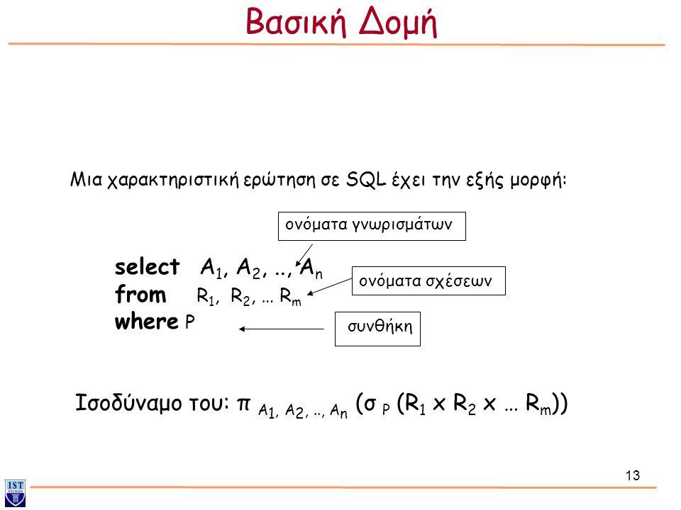 13 select Α 1, Α 2,.., Α n from R 1, R 2, … R m where P Μια χαρακτηριστική ερώτηση σε SQL έχει την εξής μορφή: Ισοδύναμο του: π A 1, A 2,.., A n (σ P