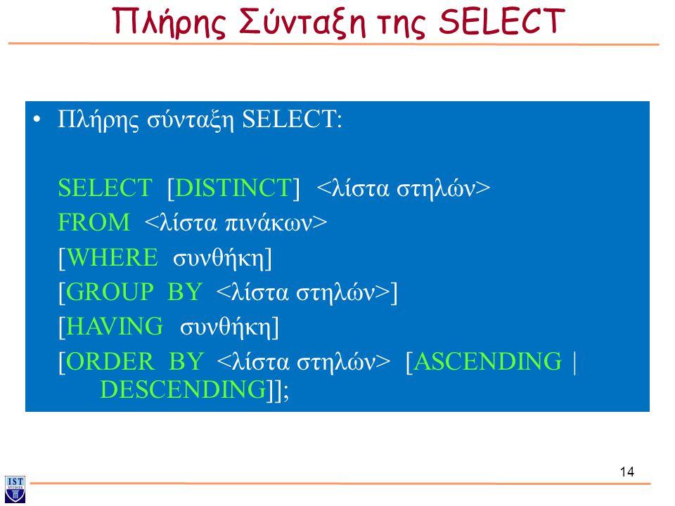 14 Πλήρης σύνταξη SELECT: SELECT [DISTINCT] FROM [WHERE συνθήκη] [GROUP BY ] [HAVING συνθήκη] [ORDER BY [ASCENDING | DESCENDING]]; Πλήρης Σύνταξη της