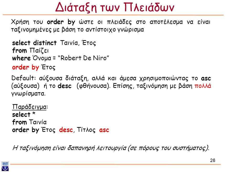 """26 select distinct Ταινία, Έτος from Παίζει where Όνομα = """"Robert De Niro"""" order by Έτος Χρήση του order by ώστε οι πλειάδες στο αποτέλεσμα να είναι τ"""