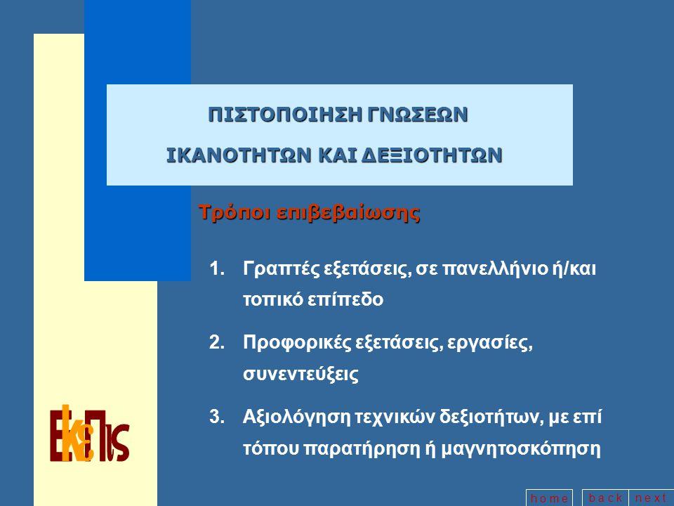 b a c kn e x t h o m e ΠΙΣΤΟΠΟΙΗΣΗ ΓΝΩΣΕΩΝ ΠΙΣΤΟΠΟΙΗΣΗ ΓΝΩΣΕΩΝ ΙΚΑΝΟΤΗΤΩΝ ΚΑΙ ΔΕΞΙΟΤΗΤΩΝ Τρόποι επιβεβαίωσης 1.Γραπτές εξετάσεις, σε πανελλήνιο ή/και τοπικό επίπεδο 2.Προφορικές εξετάσεις, εργασίες, συνεντεύξεις 3.Αξιολόγηση τεχνικών δεξιοτήτων, με επί τόπου παρατήρηση ή μαγνητοσκόπηση
