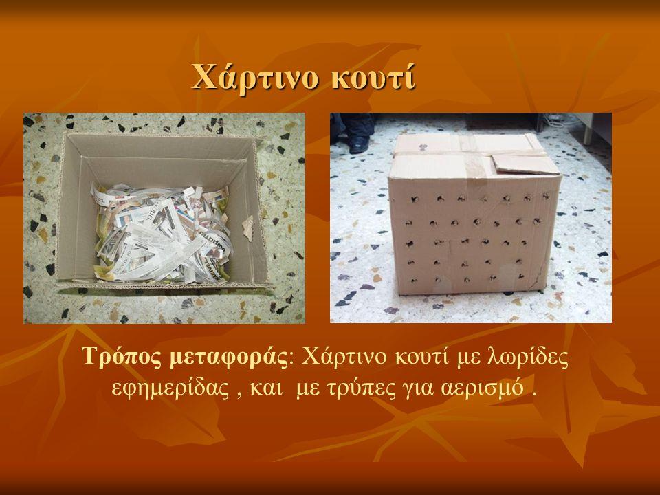 Χάρτινο κουτί Τρόπος μεταφοράς: Χάρτινο κουτί με λωρίδες εφημερίδας, και με τρύπες για αερισμό.