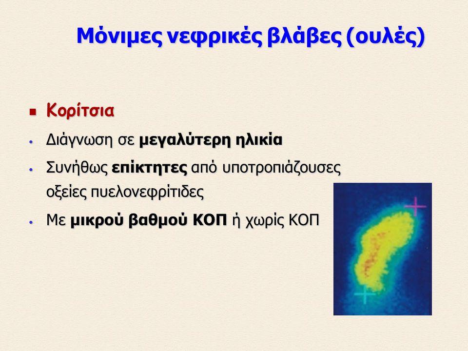 Κορίτσια Κορίτσια Διάγνωση σε μεγαλύτερη ηλικία Διάγνωση σε μεγαλύτερη ηλικία Συνήθως επίκτητες από υποτροπιάζουσες οξείες πυελονεφρίτιδες Συνήθως επίκτητες από υποτροπιάζουσες οξείες πυελονεφρίτιδες Με μικρού βαθμού ΚΟΠ ή χωρίς ΚΟΠ Με μικρού βαθμού ΚΟΠ ή χωρίς ΚΟΠ Μόνιμες νεφρικές βλάβες (ουλές) Μόνιμες νεφρικές βλάβες (ουλές)