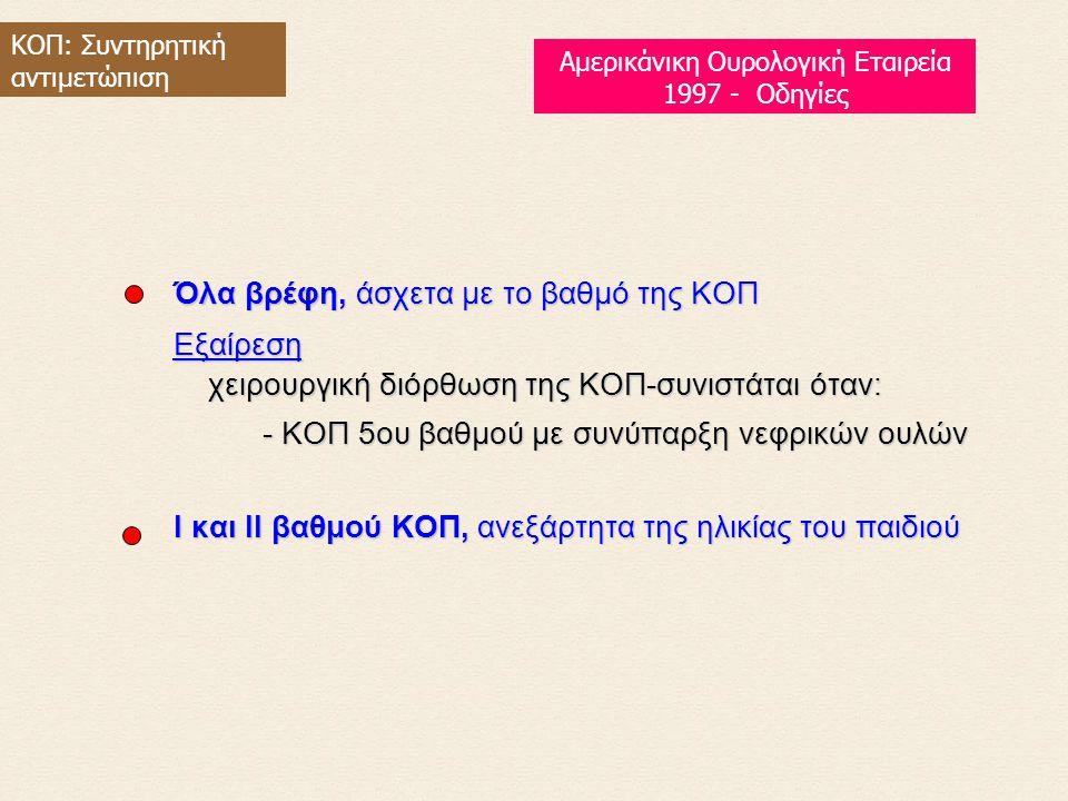 Όλα βρέφη, άσχετα με το βαθμό της KOΠ Eξαίρεση χειρουργική διόρθωση της KOΠ-συνιστάται όταν: - KOΠ 5ου βαθμού με συνύπαρξη νεφρικών ουλών I και II βαθμού KOΠ, ανεξάρτητα της ηλικίας του παιδιού ΚΟΠ: Συντηρητική αντιμετώπιση Αμερικάνικη Ουρολογική Εταιρεία 1997 - Οδηγίες