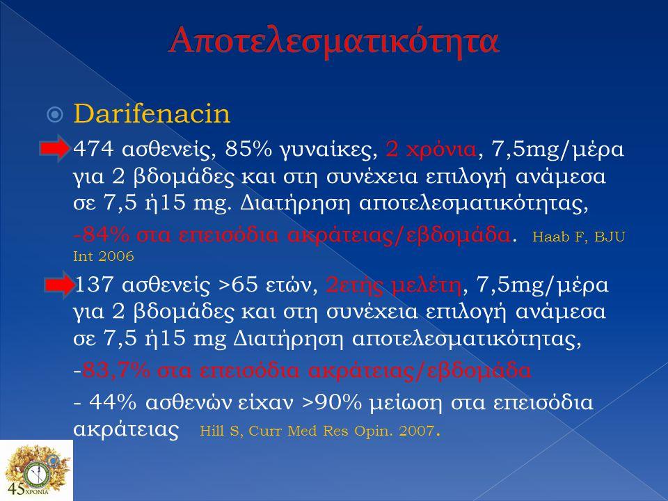  Darifenacin 474 ασθενείς, 85% γυναίκες, 2 χρόνια, 7,5mg/μέρα για 2 βδομάδες και στη συνέχεια επιλογή ανάμεσα σε 7,5 ή15 mg. Διατήρηση αποτελεσματικό