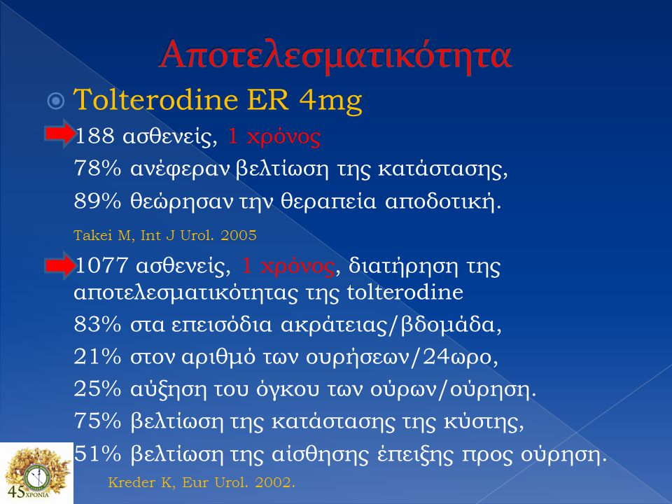  Tolterodine ER 4mg 188 ασθενείς, 1 χρόνος 78% ανέφεραν βελτίωση της κατάστασης, 89% θεώρησαν την θεραπεία αποδοτική. Takei M, Int J Urol. 2005 1077