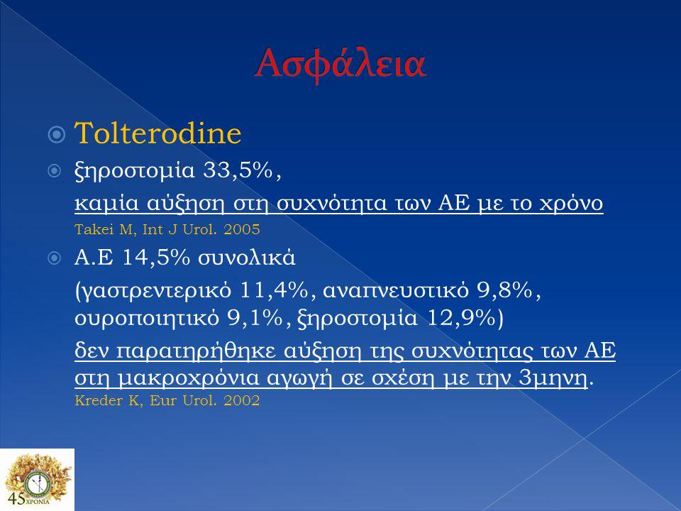  Tolterodine  ξηροστομία 33,5%, καμία αύξηση στη συχνότητα των ΑΕ με το χρόνο Takei M, Int J Urol. 2005  A.E 14,5% συνολικά (γαστρεντερικό 11,4%, α