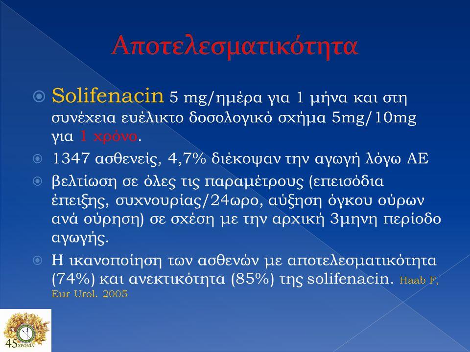  Solifenacin 5 mg/ημέρα για 1 μήνα και στη συνέχεια ευέλικτο δοσολογικό σχήμα 5mg/10mg για 1 χρόνο.  1347 ασθενείς, 4,7% διέκοψαν την αγωγή λόγω ΑΕ