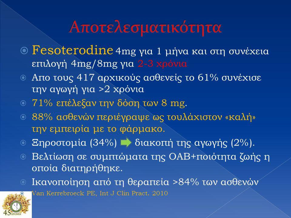  Fesoterodine 4mg για 1 μήνα και στη συνέχεια επιλογή 4mg/8mg για 2-3 χρόνια  Απο τους 417 αρχικούς ασθενείς το 61% συνέχισε την αγωγή για >2 χρόνια