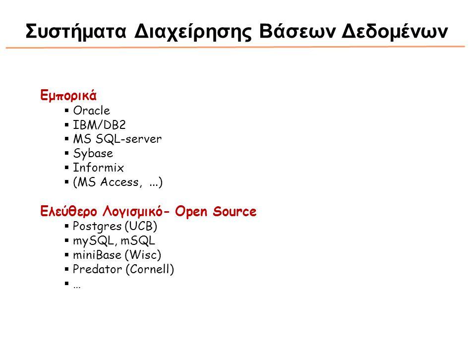 Εμπορικά  Oracle  IBM/DB2  MS SQL-server  Sybase  Informix  (MS Access,...) Ελεύθερο Λογισμικό- Open Source  Postgres (UCB)  mySQL, mSQL  min