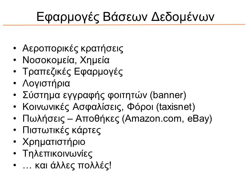 Εφαρμογές Βάσεων Δεδομένων Αεροπορικές κρατήσεις Νοσοκομεία, Χημεία Τραπεζικές Εφαρμογές Λογιστήρια Σύστημα εγγραφής φοιτητών (banner) Κοινωνικές Ασφαλίσεις, Φόροι (taxisnet) Πωλήσεις – Αποθήκες (Amazon.com, eBay) Πιστωτικές κάρτες Χρηματιστήριο Τηλεπικοινωνίες … και άλλες πολλές!