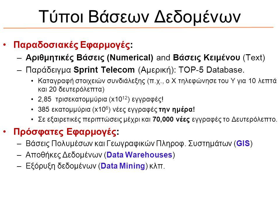 Τύποι Βάσεων Δεδομένων Παραδοσιακές Εφαρμογές: –Αριθμητικές Βάσεις (Numerical) and Βάσεις Κειμένου (Text) –Παράδειγμα Sprint Telecom (Αμερική): ΤOP-5 Database.
