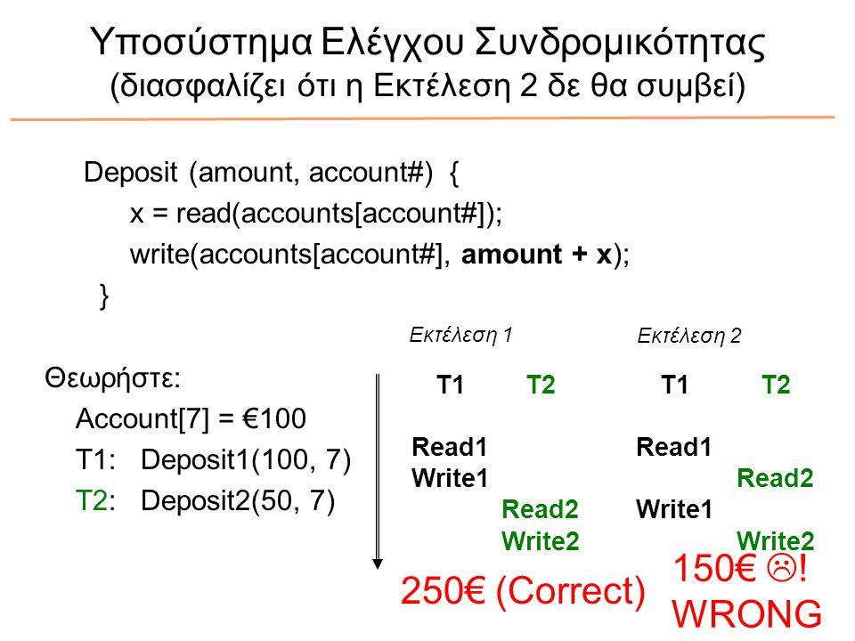 Υποσύστημα Ελέγχου Συνδρομικότητας (διασφαλίζει ότι η Εκτέλεση 2 δε θα συμβεί) Deposit (amount, account#) { x = read(accounts[account#]); write(accounts[account#], amount + x); } Θεωρήστε: Account[7] = €100 T1: Deposit1(100, 7) T2: Deposit2(50, 7) T1 Read1 Write1 T2 Read2 Write2 T1 Read1 Write1 T2 Read2 Write2 Εκτέλεση 1 Εκτέλεση 2 250€ (Correct) 150€  .