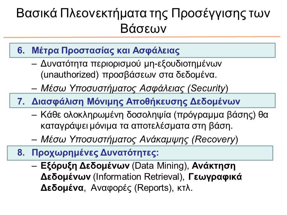 Βασικά Πλεονεκτήματα της Προσέγγισης των Βάσεων 6.Μέτρα Προστασίας και Ασφάλειας –Δυνατότητα περιορισμού μη-εξουδιοτημένων (unauthorized) προσβάσεων στα δεδομένα.
