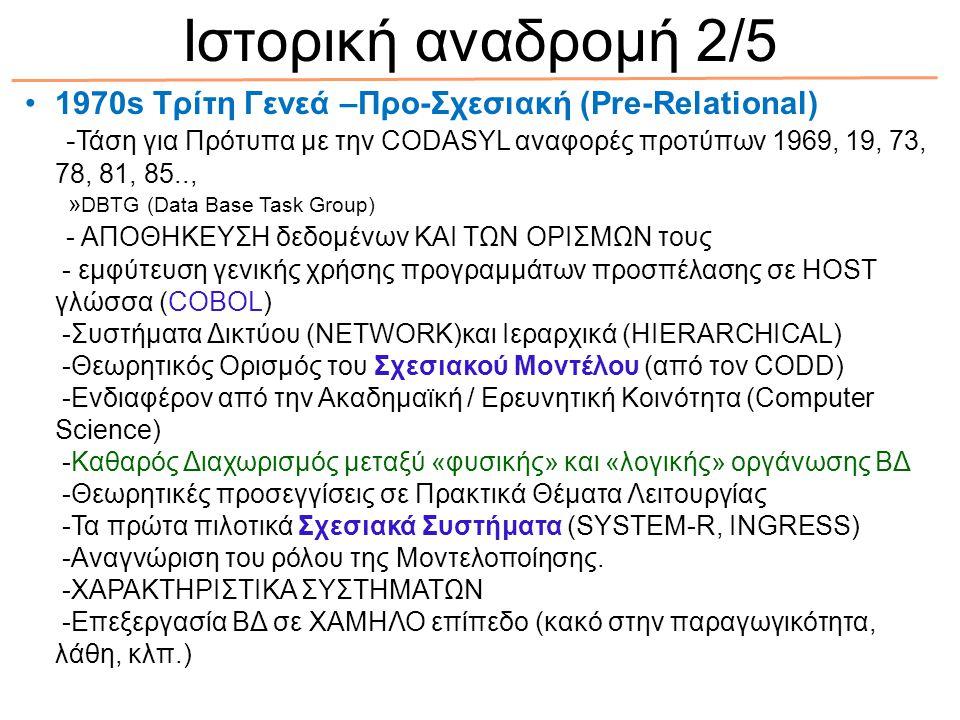 1970s Τρίτη Γενεά –Προ-Σχεσιακή (Pre-Relational) - Τάση για Πρότυπα με την CODASYL αναφορές προτύπων 1969, 19, 73, 78, 81, 85.., » DBTG (Data Base Tas